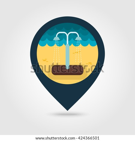 Summer beach pool shower vector pin map icon. Beach Map pointer. Summer Map markers. Summertime. Vacation, eps 10