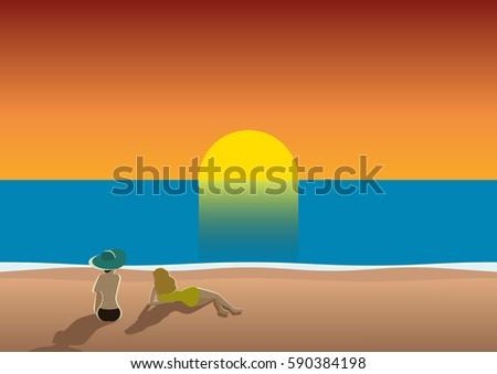 summer beach poster sunset