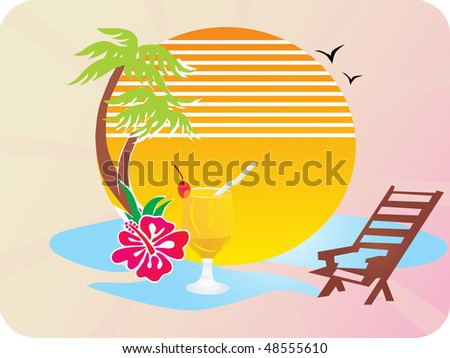 wallpaper summer beach. stock vector : summer beach