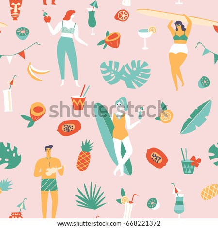Summer beach seamless pattern in vector. Surf illustration in retro mid century style
