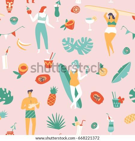Summer beach seamless pattern in vector. Surf illustration in retro mid century style