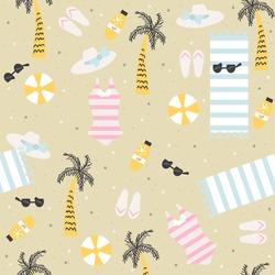 Summer beach seamless pattern. Vector hand drawn illustration.