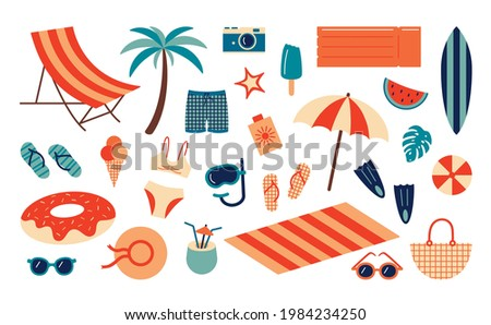 Summer beach set. Cartoon sea and ocean recreation attributes, parasol sunglasses ball slippers and towels. Vector summer vacation set Photo stock ©