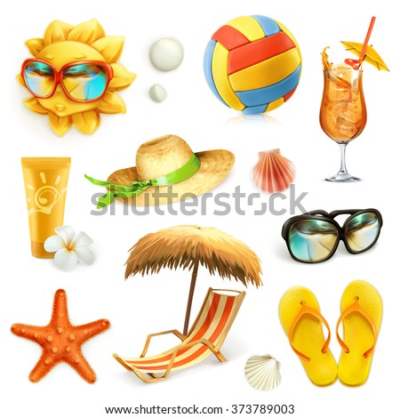 summer beach  set of vector