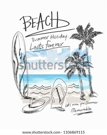 summer beach slogan with beach surf sandals illustratiion