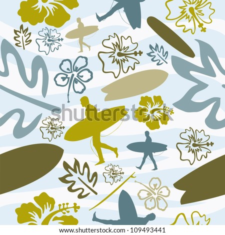 Summer beach surfing seamless pattern background. Vector illustration layered for easy manipulation and custom coloring.