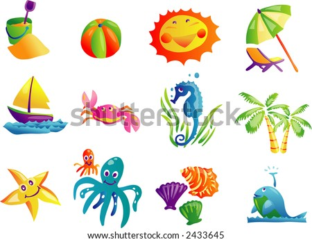Summer Beach Travel Clip Art 01(Vector) - stock vector