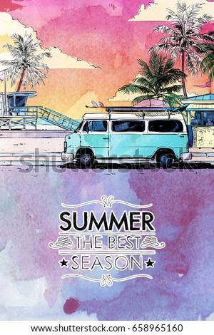summer beach vector card