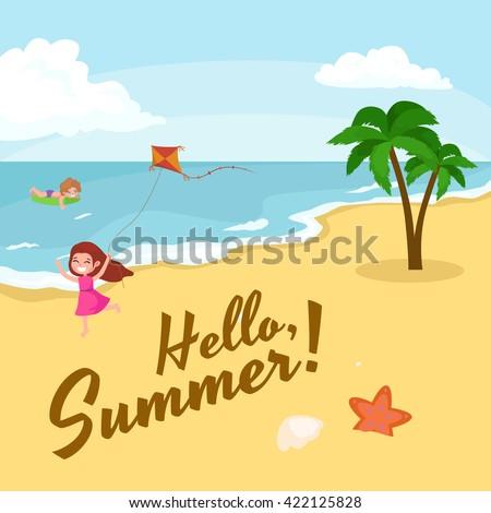 summer beach vector  summer