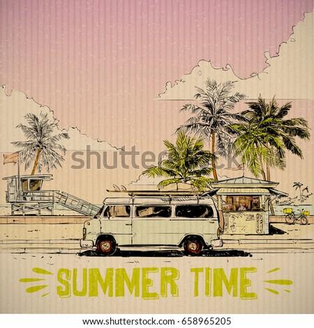 summer beach walkway vector