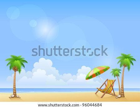 Summer beach with palms and chaise lounge. Vector background