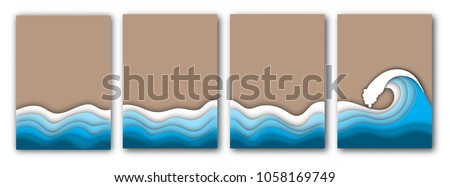 Summer beach with sea or ocean waves and sand abstract background template, A4 format. Summer vacation concept. Paper cut out style vector illustration.