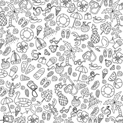 Summer black and white background, texture, drawing, wallpaper, doodle
