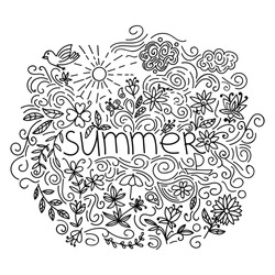 Summer black hand drawn round thin line postcard isolated on white background. Seasonal greeting with word Summer. Doodle summer card with floral elements, flowers, sun, bird, clouds, leaves. Vector.