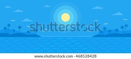 summer blue flat vector