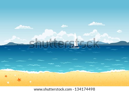 summer blue sea landscape with