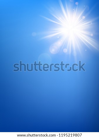 Summer blue sky template and hot summer sun rays burst with lens flare. EPS 10 #1195219807