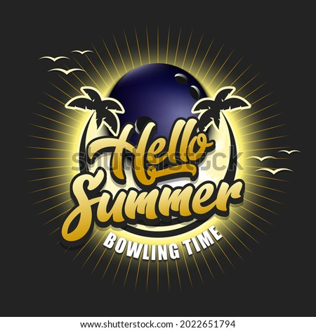 Summer bowling logo. Hello summer. Bowling time. Pattern for design poster, logo, emblem, label, banner, icon. Bowling template on isolated background. Vector illustration