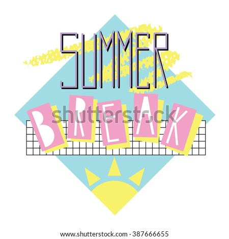 summer break   card template in