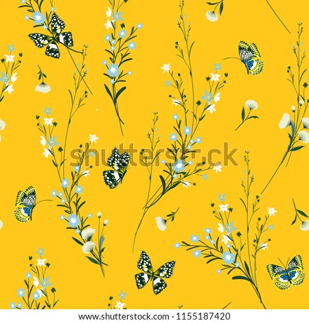 Summer bright Meadow flowers blowing in the wind with butterflies soft and gentle seamless pattern on vector design for fashion,fabric,wallpaper and all prints on vivid  yellow background.