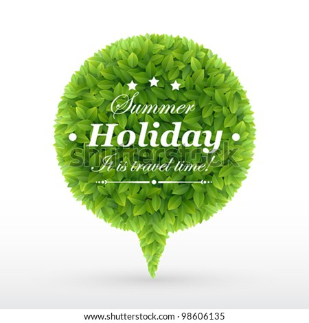 Summer Bubble for speech � Green leaves. Vector illustration. - stock vector