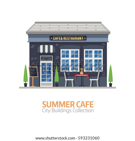 Summer cafe shop with outdoor terrace and table with chairs. Street restaurant building facade in flat design. City constructor element.