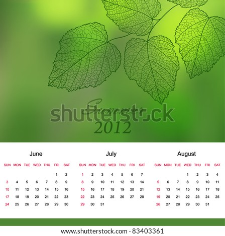 Summer calendar page of new 2012 year  with background an text  (vector eps 10)
