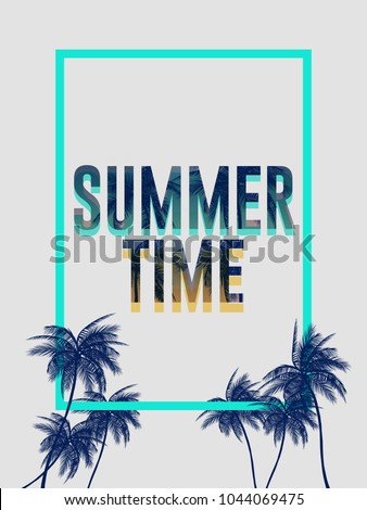 Summer california tumblr backgrounds set with palms, sky and sunset. Summer placard poster flyer invitation card. Summer party.