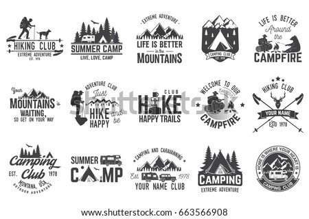 Summer camp and hiking club with design elements. Vector illustration. Set of extreme adventure badges. Vintage typography design with rv trailer, camping tent, man with guitar and forest silhouette.