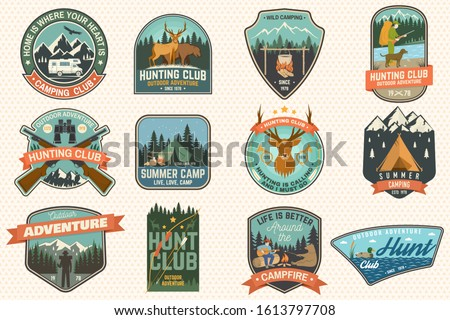 Summer camp and Hunting club patches.Vector. Concept for shirt or logo, print, stamp, patch. Patch design with rv trailer, camping tent, campfire, hunter, man with guitar, forest silhouette