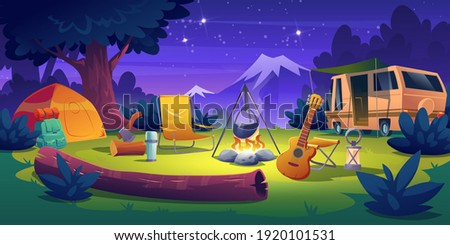 Summer camp at night time. Rv caravan motorhome car stand at campfire with tent, log, cauldron and guitar Summertime vacation, camping, traveling, trip, hiking activities, Cartoon vector illustration