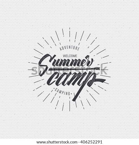Summer camp badge, sticker, stamp, for your summer design