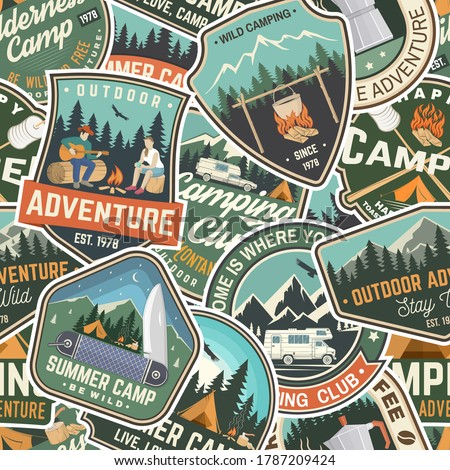 Summer camp colorful seamless pattern with rv trailer, camping tent, campfire, bear, man with guitar and forest. Vector illustration. Background, wallpaper, seamless pattern with patches