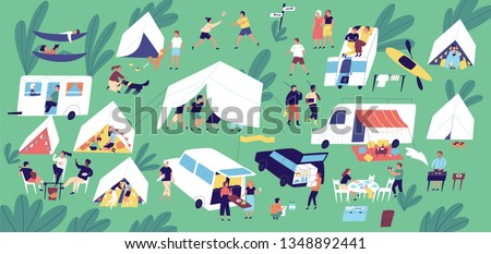 Summer camp festival. People or tourists living in tents, travel trailers and camper vans, cooking and eating food outdoor, playing, talking to each other. Flat cartoon colorful vector illustration.