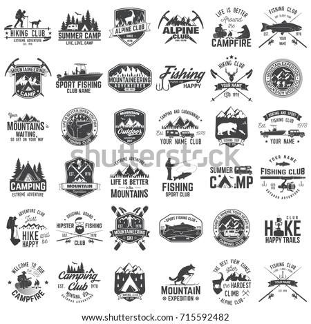 Summer camp,fishing, alpine and hiking club. Vector illustration. Set of vintage badges, labels, logos, silhouettes. Vintage typography collection with 36 items. Outdoors adventure emblems. - Shutterstock ID 715592482