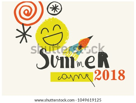 Summer Camp 2018 for kids creative and colorful poster  banner.