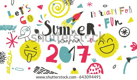 Summer Camp 2017 for kids creative and colorful poster  banner.