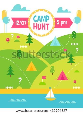 Summer Camp Hunt, Quest and Outdoor Activities Vector Poster