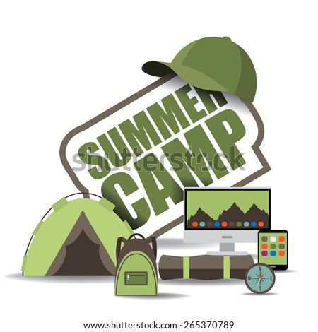 summer camp icon with computer