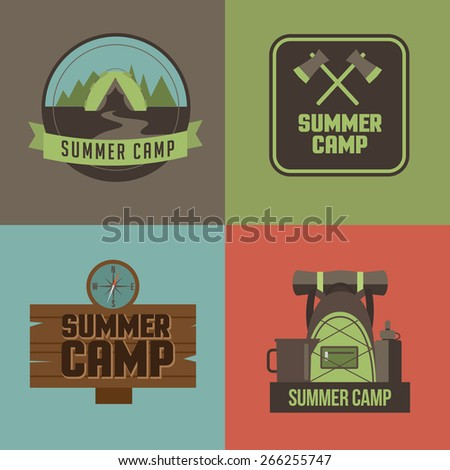 summer camp icons royalty free