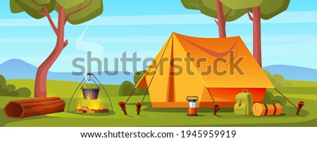 Summer camp in forest with bonfire, tent, backpack and lantern. Vector cartoon landscape with campsite, trees, log and bowler on fire. Equipment for travel, hiking and activity vacation Stockfoto ©
