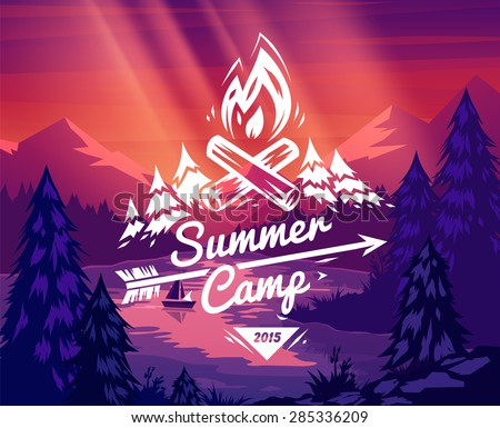 summer camp landscape vector