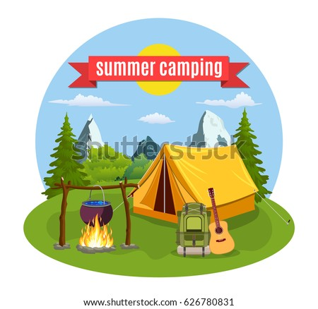 Summer Camp Landscape With Yellow Tent Campfire Forest And Mountains On The Background