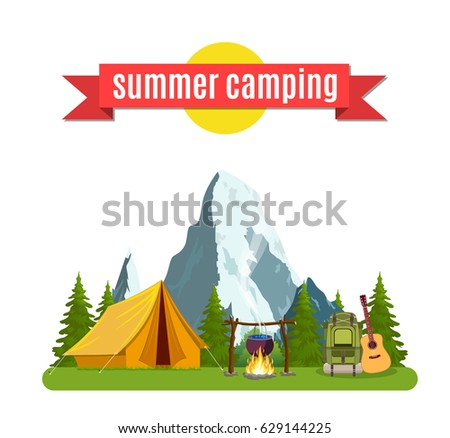 summer camp landscape with