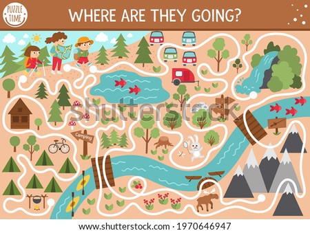 Summer camp maze for children. Active holidays preschool printable activity. Family nature trip labyrinth game or puzzle with cute hiking kids, camping map, mountains, waterfall and forest