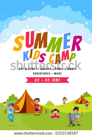 Summer camp poster, flyer or banner design.