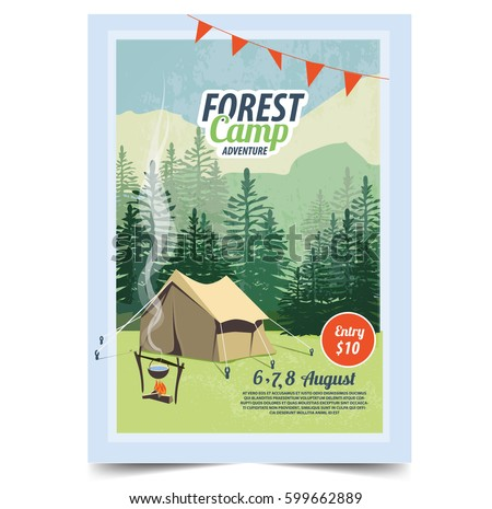 Summer camp poster. Tent, Campfire, Pine forest and rocky mountains background,