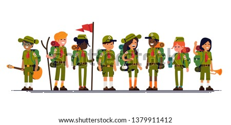 Summer camp scouts together. Cool vector character design on diverse group of scouts wearing uniform, neckerchiefs, carrying backpack and camping gear. Flat design illustration on summer camp kids