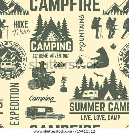 summer camp seamless pattern or ...