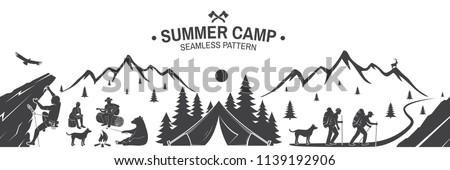 summer camp seamless pattern
